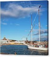 Old Sailing Boats In Helsinki City Harbor Port Finland Canvas Print