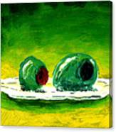 2 Olives On A White Plate Canvas Print