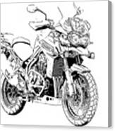 Original Motorcycle Portrait, Gift For Biker, Black And White Art Canvas Print