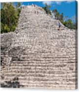 People Climbing Nohoch Mul At The Coba Ruins  Canvas Print