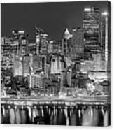 Pittsburgh Pennsylvania Skyline At Night Panorama Canvas Print
