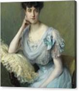 Portrait Of A Young Woman In A Blue Dress Canvas Print