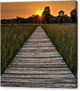 Prairie Boardwalk Sunset Canvas Print