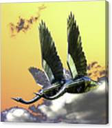 Psychedelic Metal Sculpture Of Two Swans Flying Canvas Print