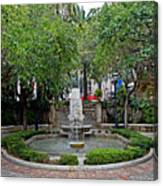 Public Fountain And Gardens In Palma Majorca Spain Canvas Print