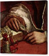 Raphael Pope Leo X With Cardinals Giulio De  Medici And Luigi De  Rossi  Canvas Print