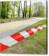 Red And White Barricade Tape Canvas Print