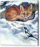 Red Fox With Magpie Canvas Print