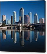 Reflection Of Skyscrapers On Water Canvas Print