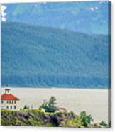 Remote Lighthouse Island Standing In The Middle Of Mud Bay Alask Canvas Print