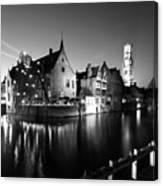 River Dijver And The Belfort At Night, Rozenhoedkaai, Bruges Canvas Print