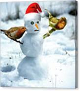 2 Robins On A Snow Man Canvas Print