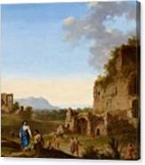 Roman Landscape With Ruins And Travellers Canvas Print