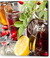 Rosehip Tea With Honey And Lemon In Glass Canvas Print