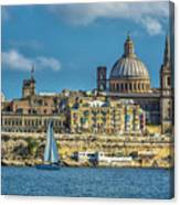 Sail Boat And Cathedral Canvas Print
