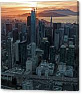 San Francisco City Skyline At Sunset Aerial Canvas Print