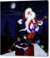 Santa Plays Guitar In A Snowstorm Canvas Print