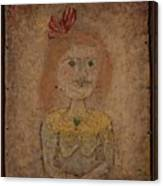 Small Portrait Of A Girl In Yellow Canvas Print