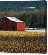 Snowy Red Barn In Winter Canvas Print