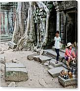 Souvenir Trinket Stall Vendor In Angkor Wat Famous Temple Cambod Canvas Print