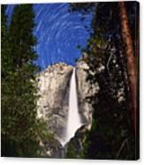 Star Trails At Yosemite Falls Canvas Print