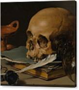 Still Life With A Skull And A Writing Quill Canvas Print