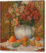 Still Life With Flowers And Prickly Pears Canvas Print