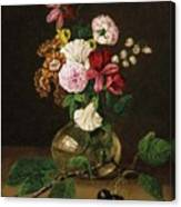 Still Life With Flowers In A Glass Vase And Cherry Twig Canvas Print