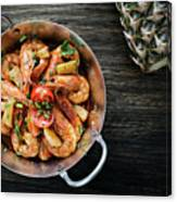Stir Fry Prawns In Spicy Asian Pineapple And Herbs Sauce Canvas Print
