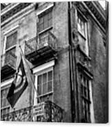 2 Story Building New Orleans Black White  Canvas Print