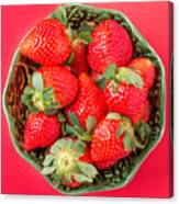 Strawberries In A Wooden Bowl On The Old Wooden Table Canvas Print