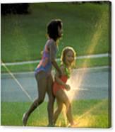 Summer Fun In A Sprinkler Canvas Print