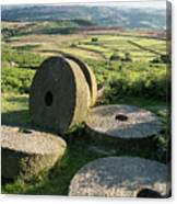 Summer Landscape Image Of Millstones On Top Of Stanage Edge In P Canvas Print