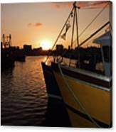 Sunset Over Sutton Harbour Plymouth Canvas Print