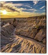 Sunset Over Walls Of China In Mungo National Park, Australia Canvas Print