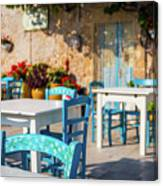 Tables In A Traditional Italian Restaurant In Sicily, Italy Canvas Print