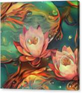 Teal And Peach Waterlilies Canvas Print