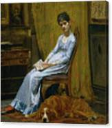 The Artist's Wife And His Setter Dog Canvas Print
