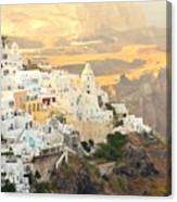 The Golden Hour In Fira Canvas Print