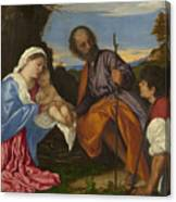 The Holy Family With A Shepherd Canvas Print