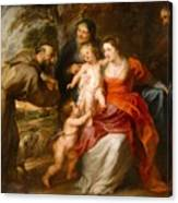The Holy Family With Saints Francis And Anne And The Infant Saint John The Baptist Canvas Print