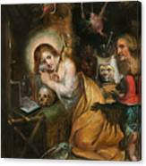 The Penitent Mary Magdalene Visited By The Seven Deadly Sins Canvas Print