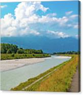 The River Rhine Between Liechtenstien And Switzerland Canvas Print