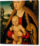 The Virgin And Child Under An Apple Tree Canvas Print