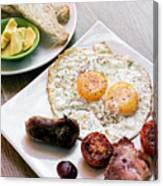 Traditional English British Fried Breakfast With Eggs Bacon And  Canvas Print