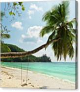 Tropical Beach At Mahe Island Seychelles Canvas Print