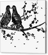 Two Birds-black Canvas Print