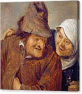Two Peasants With A Glass Of Wine Canvas Print