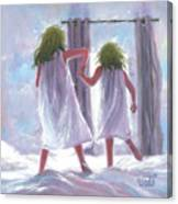 Two Sisters Jumping On The Bed  Canvas Print