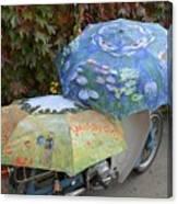2 Umbrellas On Motorcycle  Canvas Print